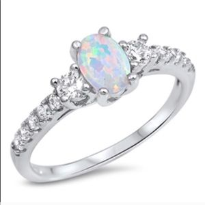 925 Sterling Silver White Lab Opal CZ Ring
